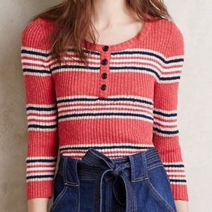 Sanctuary Ribbed Striped Henley Sweater